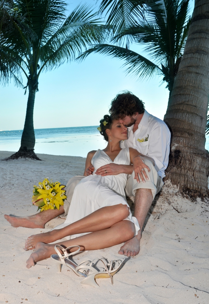 Under the shade of a palm tree - Belize Wedding Photography