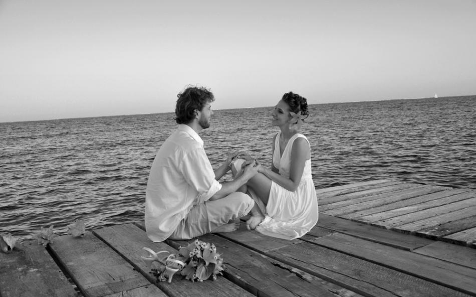 Loving on the dock - Belize Wedding Photography