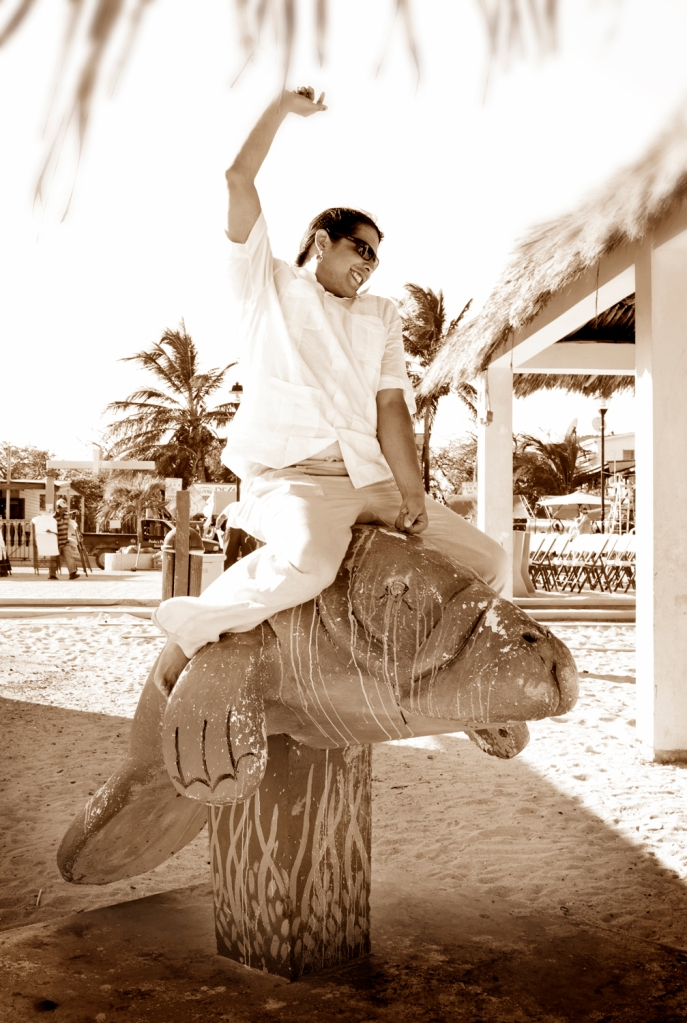 Manatee cowboy groom in Belize