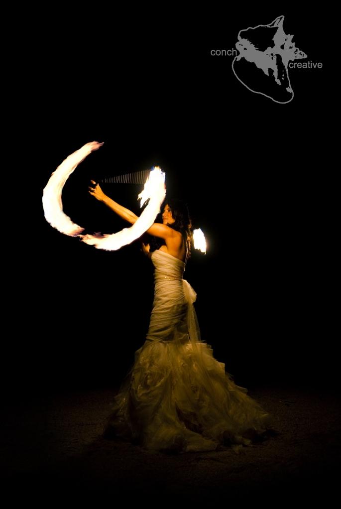 Fire spinning Bride - Belize